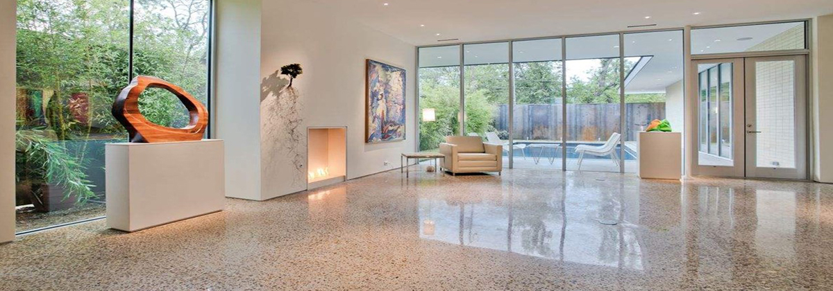 white polished concrete floor